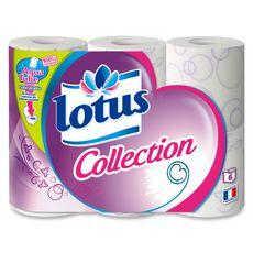 LOTUS Papier toilette décoré blanc ou lilas aquatube 6 rouleaux