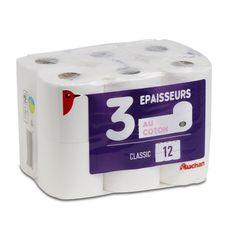 AUCHAN Papier toilette blanc au coton 3 épaisseurs 12 rouleaux