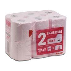AUCHAN Papier toilette rose compact 2 épaisseurs = 18 standards 12 rouleaux