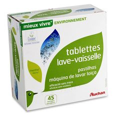 AUCHAN Tablettes lave-vaisselle parfum menthe 45 lavages 45 tablettes