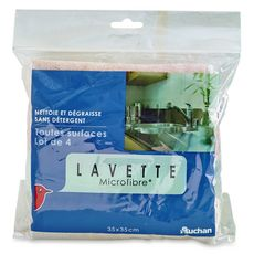 AUCHAN Lavettes microfibres toutes surfaces 35x35cm 4 lavettes