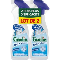 CAROLIN spray anti calcaire au vinaigre naturel 2x650ml