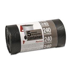 Auchan sacs poubelle protection container 240lx5