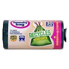 Handy Bag Sacs poubelle recyclés double épaisseur liens coulissants 30l x15