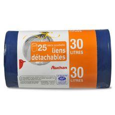 Auchan Sacs poubelle liens détachables 30l x25