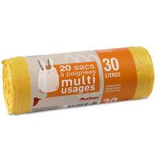 Auchan Sacs à poignées muti-usages 30l x20