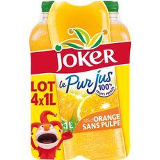 Joker le pur jus d'orange sans pulpe brique 4x1l