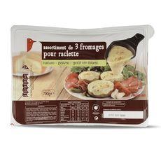 AUCHAN Auchan Assortiment de 3 fromages à raclette 700g