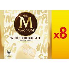 MAGNUM Bâtonnet glacé vanille enrobé de chocolat blanc 8 pièces 632g