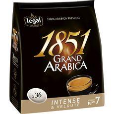 LEGAL Café 1851 grand Arabica en dosette compatible Senseo 36 dosettes 250g