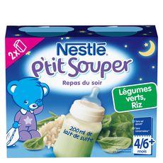Nestlé p'tit souper lait légumes verts riz 2x250g dès 4mois