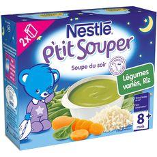 NESTLE Nestlé p'tit souper légumes variés riz 2x250ml 8 mois