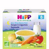 HiPP Hipp Mon dîner soupe 6 légumes semoule bio dès 8 mois 2x250ml