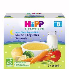 HiPP HIPP Mon dîner soupe 6 légumes semoule bio dès 8 mois