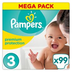 Pampers premium protect mega couche 4/9kg x99 taille 3