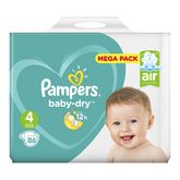 Pampers couches baby dry mega 9/14kg x86 taille 4