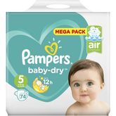 Pampers couche baby dry mega 11/16kg x74 taille 5