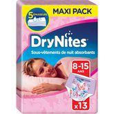 Huggies Drynites fille 8-15 ans x13 culottes pipi au lit
