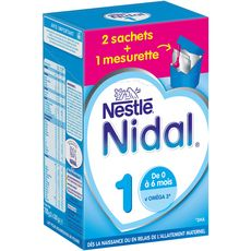 Nestlé Nidal 1 lait 1er âge en poudre dès la naissance à 6 mois 2x350g