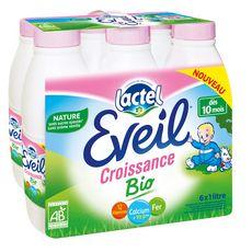 Lactel Eveil lait de croissance nature liquide bio de 10 mois à 3 ans 6x1l