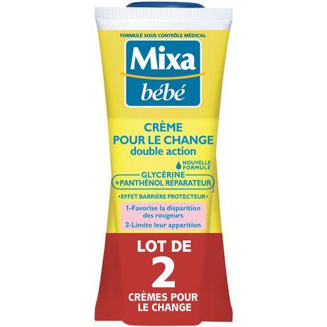 Mixa Bébé Crème pour le change double action les 2 tubes de 100 ml
