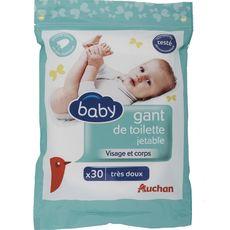 AUCHAN BABY Gants de toilettes jetables très doux visage et corps 30 gants