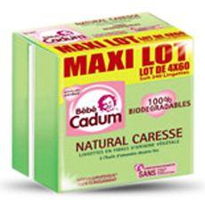BEBE CADUM Bébé Cadum Lingettes à l'huile d'amandes douces bio et biodégradables 4x60 4x60