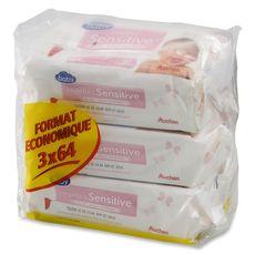 AUCHAN Auchan baby lingette sensitive lait recharge 3x64