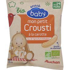 AUCHAN Auchan baby bio petit snack crousti carotte 15g dès 24 mois