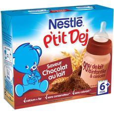 Nestlé p'tit dej lacté chocolat au lait 2x250ml dès 6mois