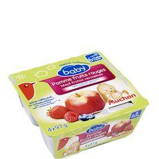 AUCHAN BABY Auchan baby Petit pot dessert pomme et fruits rouges dès 6 mois 4x97g 4x97g