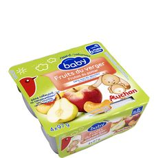 AUCHAN BABY Auchan baby Petit pot dessert fruits du verger dès 6 mois 4x97g 4x97g