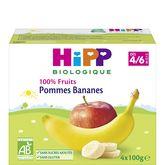 HiPP compote 100% fruits pommes bananes dès 4mois 4x100g