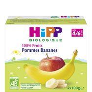 Hipp bio compote 100% fruits pommes bananes dès 4mois 4x100g