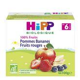 HiPP 100% fruits pommes bananes fruits rouges 4x100g 6m