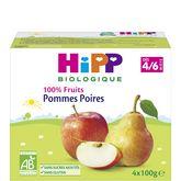 HiPP 100% fruits pommes poires coupelles 4x100g 4 mois