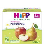 Hipp bio 100% fruits pommes poires coupelles 4x100g 4 mois