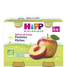 HIPP Hipp bio pommes pêches pots 2x190g 4/6 mois