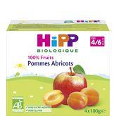 HiPP Hipp Petit pot dessert pommes abricots bio dès 4 mois 4x100g