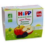 Hipp bio coupelle pomme pruneaux 4x100g 4-6 mois