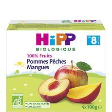 HIPP Petit pot dessert pommes pêches mangues bio dès 8 mois 4x100g