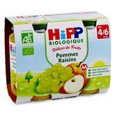 HiPP pommes raisins pots 2x190g 4à6 mois