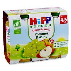 HIPP Hipp Petit pot dessert pommes raisins bio dès 4 mois 2x190g 2x190g