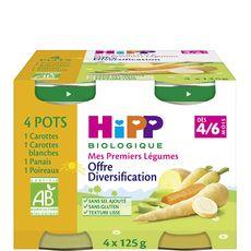 HIPP Hipp bio carotte blanche panais poireaux dès 4/6m pot 4x125g