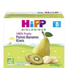 HIPP Petit pot dessert poires bananes kiwis bio dès 8 mois 4x100g
