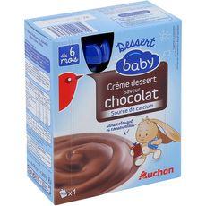 Auchan baby dessert lacté chocolat gourde 4x90g dès 6mois