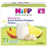 HiPP Hipp Petit pot dessert brassé banane mangue ananas bio dès 6 mois 4x100g