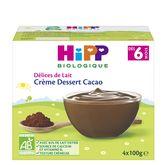 HiPP Hipp Petit pot dessert crème cacao bio dès 6 mois 4x100g