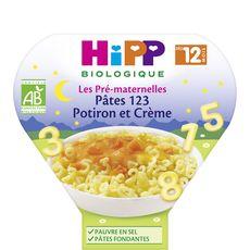 Hipp bio assiette pâtes crème potiron 230g dès 12 mois