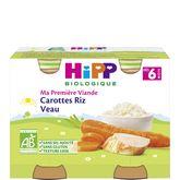 HiPP Hipp Petit pot carottes riz veau bio dès 6 mois 2x190g